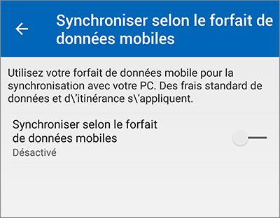 Paramètre synchro mobile