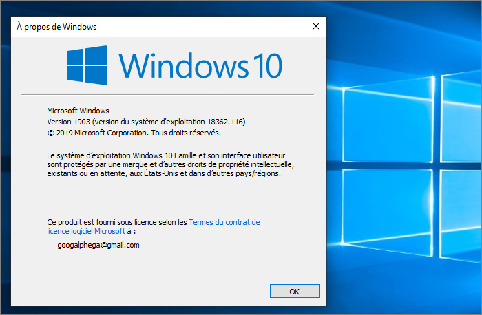 Version finale Windows 10 1903