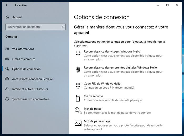 Options de connexion