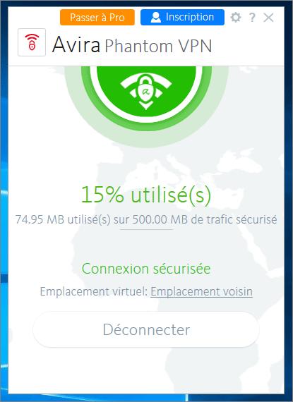 Interface du logiciel VPN