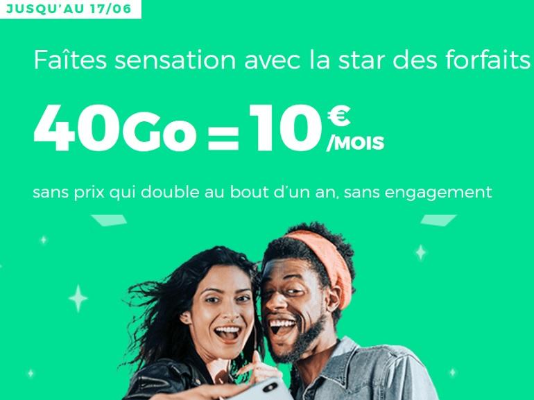 Dernières heures sur le forfait mobile 40 Go à 10€ de RED by SFR