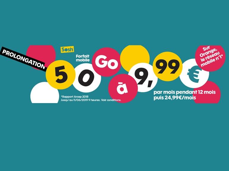 Orange / Sosh : le forfait 50 Go passe à 9,99 euros pendant 12 mois