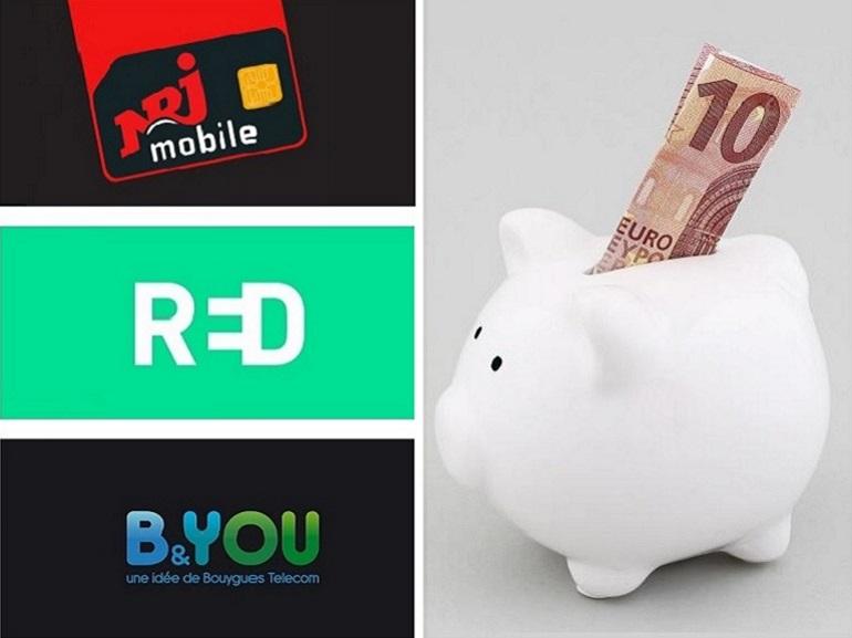 Forfait sans engagement à 10 euros : qui choisir entre RED by SFR, NRJ Mobile et B&You ?
