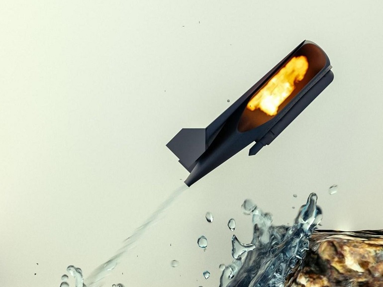 Ce robot se propulse en projetant un puissant jet d'eau