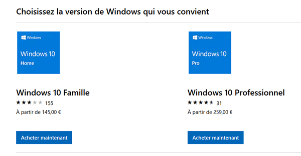 Prix officiels de Windows 10