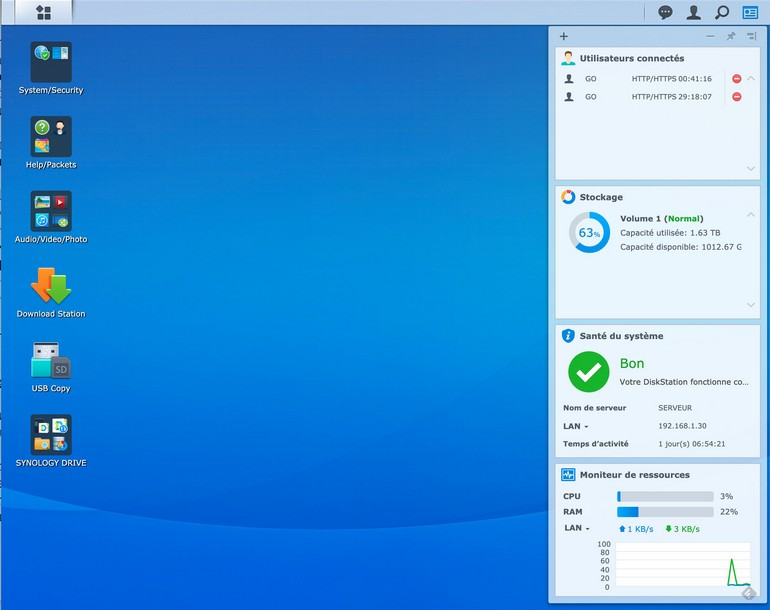 screenshot DSM 6.22