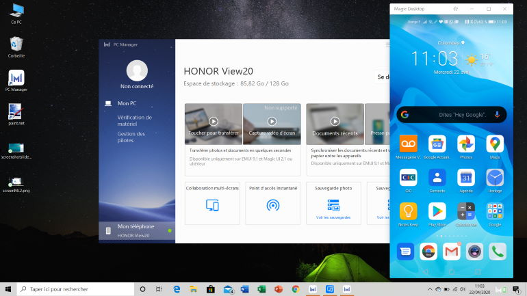 Honor View 20 synchronized with Honor MagicBook 14