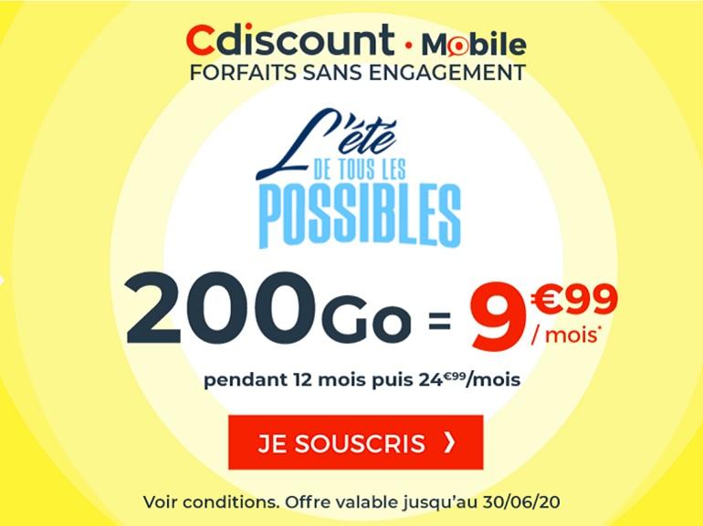 Avis aux gros consommateurs de data, Cdiscount Mobile propose son forfait 200 Go à 9,99€ / mois