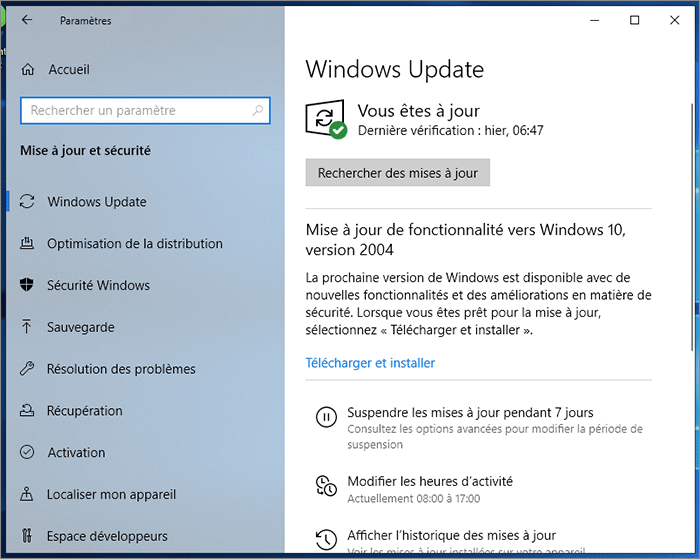 Message Windows Update