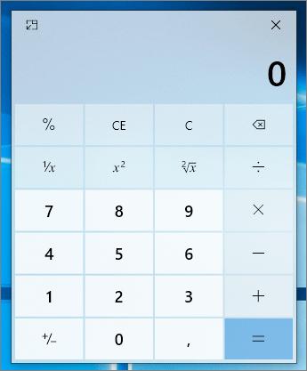Calculatrice en mode réduit