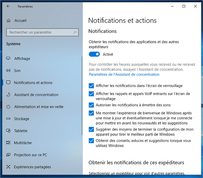 Gestion des notifications