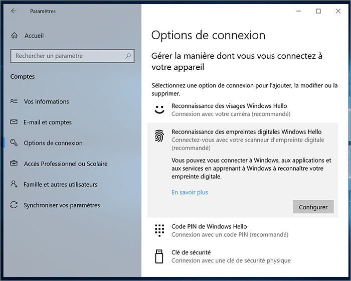 Options de connexion