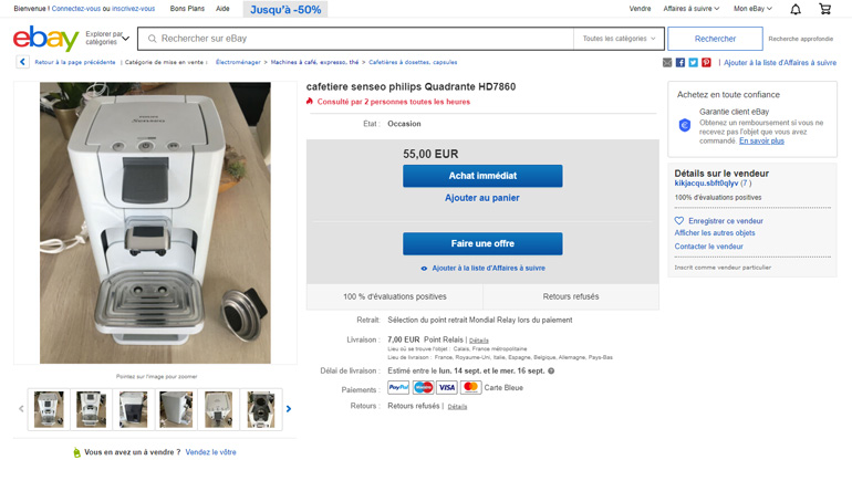 Ebay offre screenshot