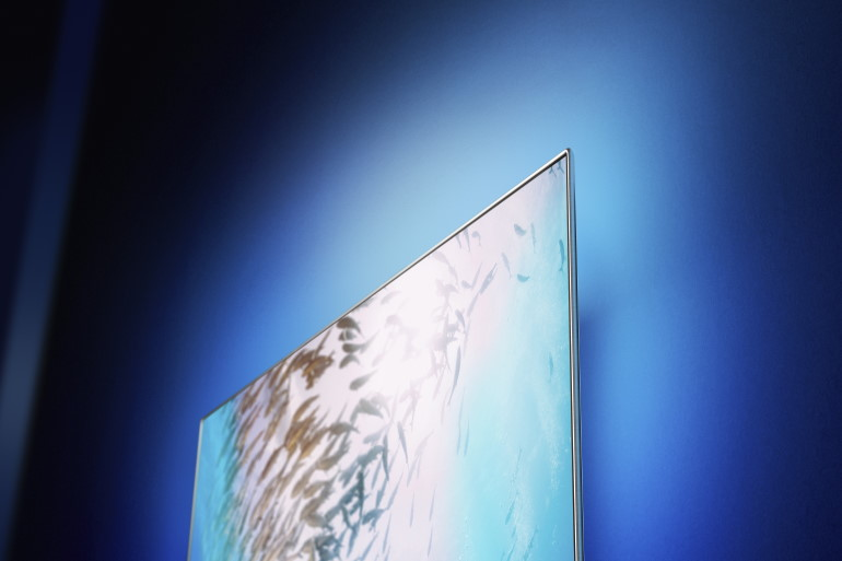 Effet Ambilight vu d'un téléviseur Philips OLED 805