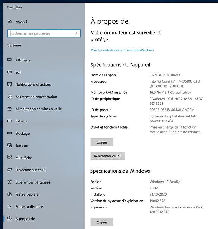 A propos de Windows 10
