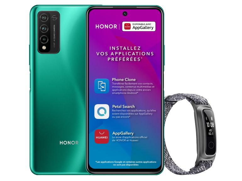 Le smartphone Honor 10X Lite avec le bracelet d'activité Band 5 Sport