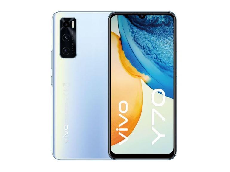 Le smartphone Vivo Y70 vu de devant et de derrière