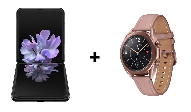 Le smartphone Samsung ZFlip et une montre Galaxy Watch