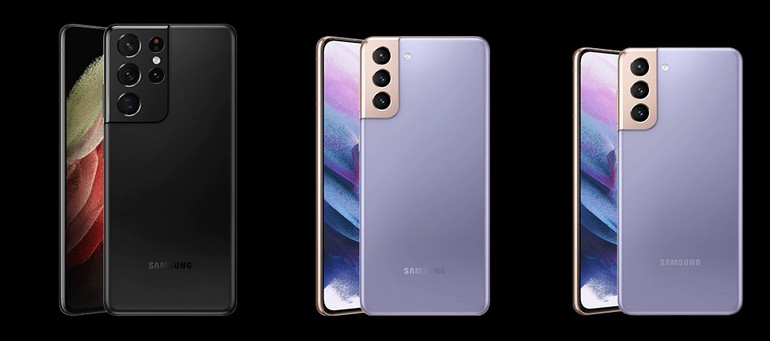 Les smartphones Samsung Galaxy S21, S21+ et S21 Ultra vus de dos