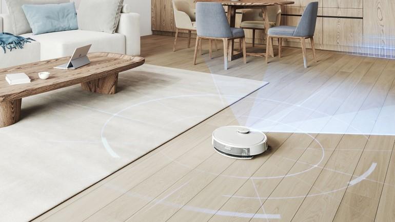 l'aspirateur-robot Ecovacs Deebot N8+ réalise une cartographie de l'environnement grâce à une télémétrie laser temps de vol