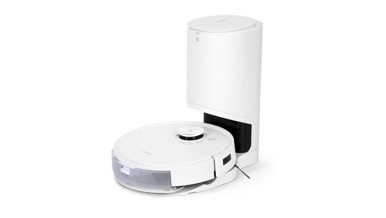 l'aspirateur-robot Ecovacs Deebot T9+ et sa station de vidange automatique, visuel packshot