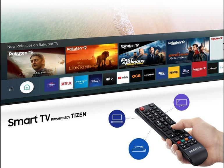 l'interface Tizen du téléviseur Samsung TU7125