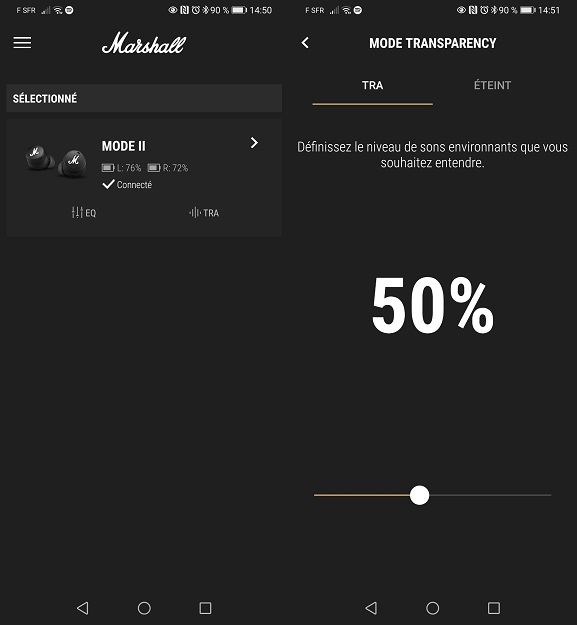 Application Marshall Bluetooth - Mode Transpiracy