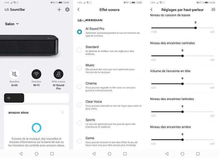 Appli LG Soundbar menu