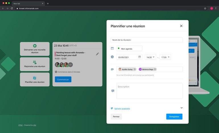 screenshot interface du logiciel kMeet