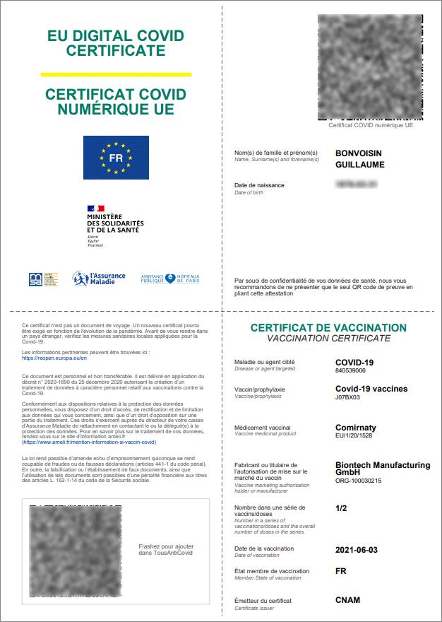 Certificat vaccin européen