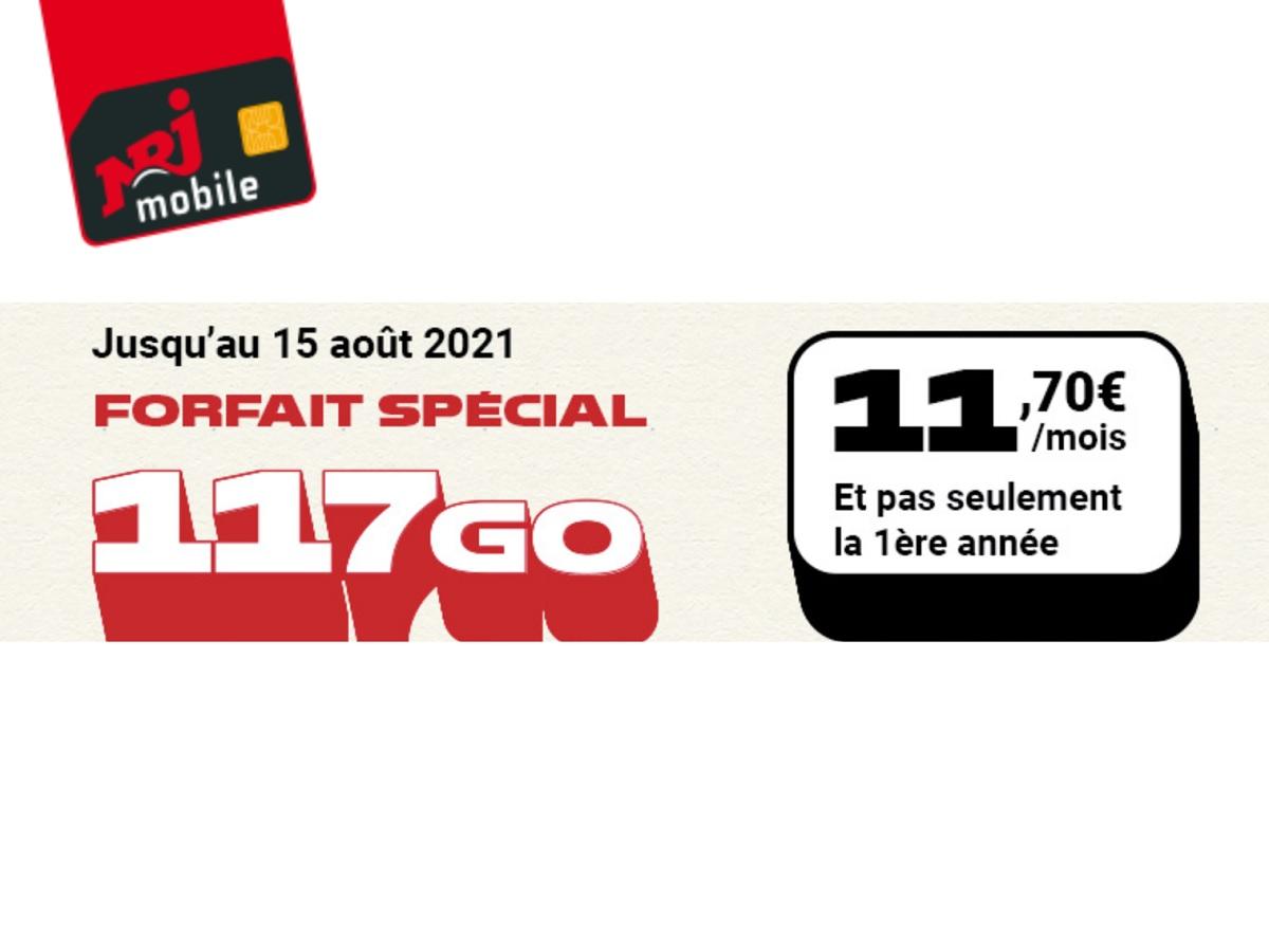 Le forfait NRJ Mobile 117 Go est à 11,70 euros (sans engagement et sans limitation de durée)