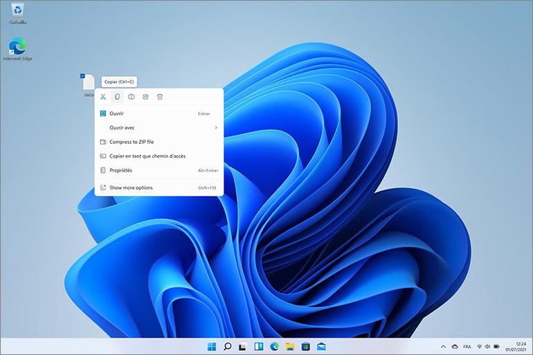 Menus contextuels Windows 11