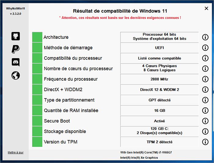 Compatibilité Windows 11