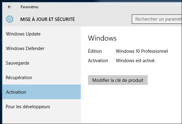 Windows est activé
