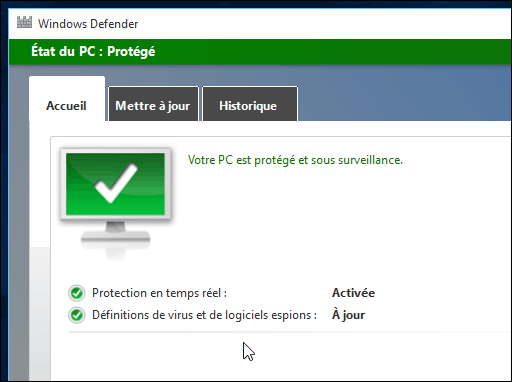 Defender dans Windows 10