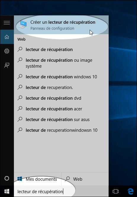 Clé de récupération Windows 10