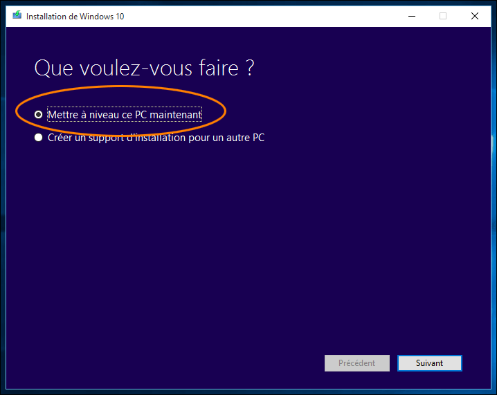 Mettre à niveau Windows 10