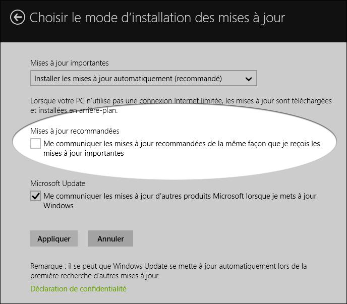 Options de Windows Update dans Windows 8