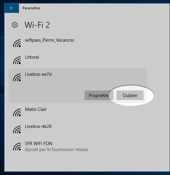 Supprimer Wifi