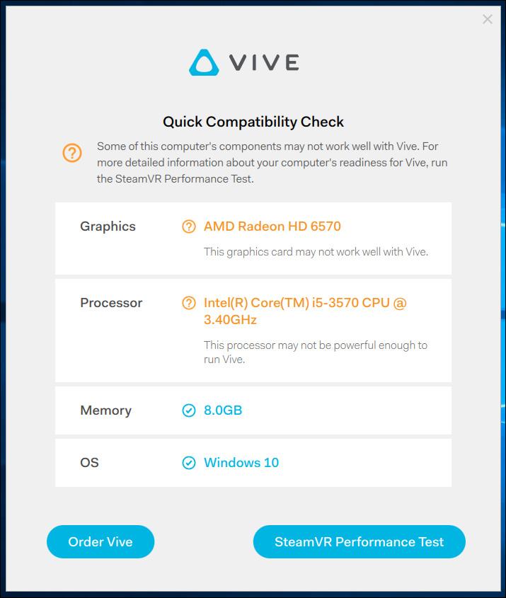 Test compatibilité htc Vive
