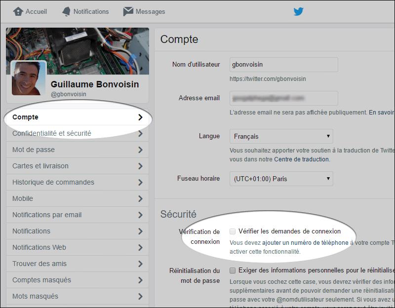 Vérification de connexion Twitter