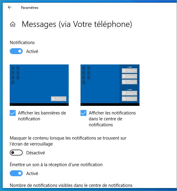 Paramètres de notifications