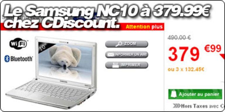 Le Samsung NC10 Blanc à 379,99 € chez CDiscount.