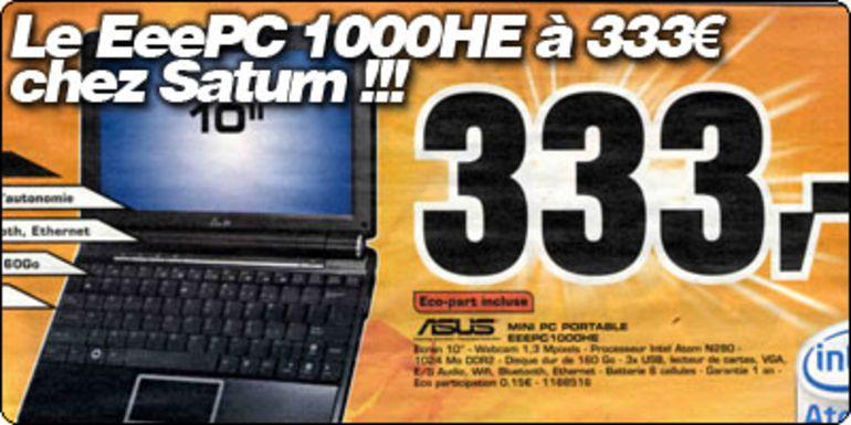 Le EeePC 1000HE à 333 € chez Saturn !