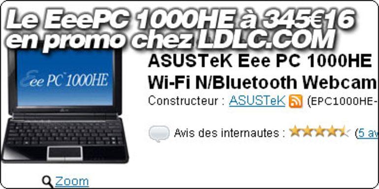 Le EeePC 1000HE en promo à 355€17 chez LDLC.COM