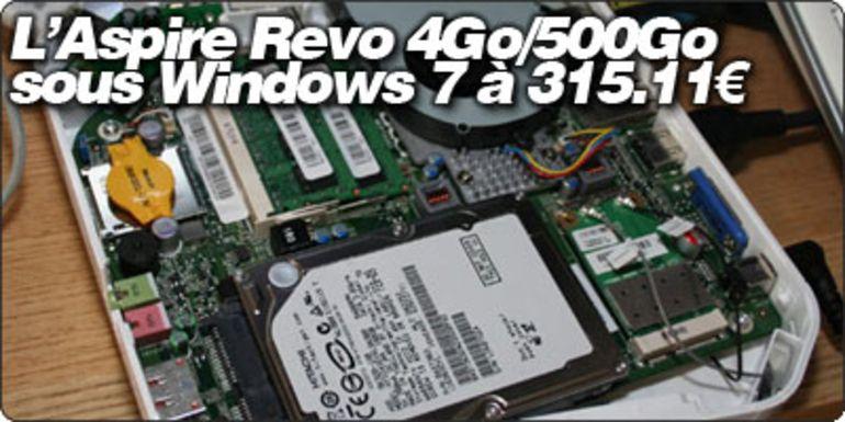 GrosBill liste le Acer Aspire Revo R3610 4Go/500Go/Win7 à 315.11€