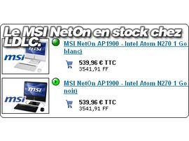 Le MSI NetOn AP1900 en stock à 539.96€ chez LDLC.