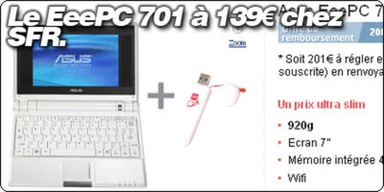 Le EeePC 701 à 139 € chez SFR !