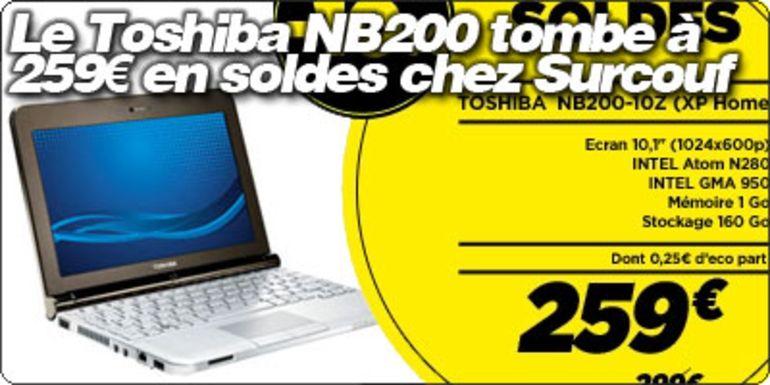 Le Toshiba NB200 tombe à 259€ en soldes chez Surcouf !