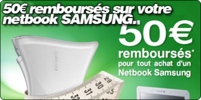 50€ remboursé sur votre netbook Samsung.